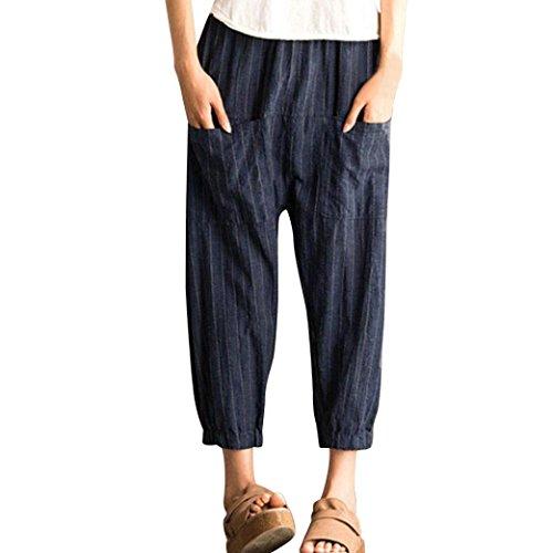 CICIYONER Mujeres Pantalones Harén Pantalones elásticos Flojos Ocasionales  de Cintura Alta a Rayas 1d206dee2247