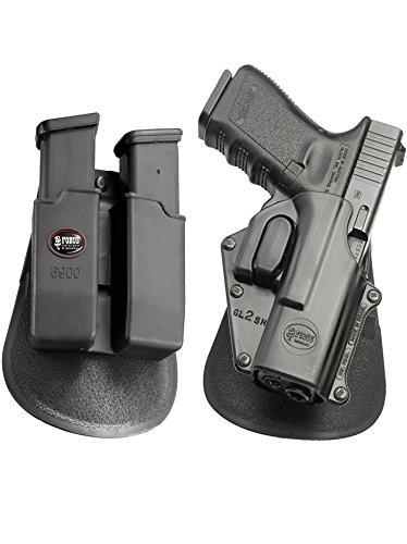SH verdeckte Trage Taktisch Pistolenhalfter Sicherungs Trigger Sicherheit Zuhaltungs system Halfter Holster + Doppel-Magazintasche für Glock 17, 19, 22, 23, 31, 32, 34, 35 ()
