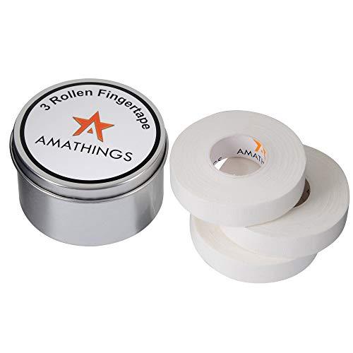 3 rollos de cinta para dedos en caja de metal de 1,5 cm de ancho en color blanco, ideal para dedos y deportes como voleibol