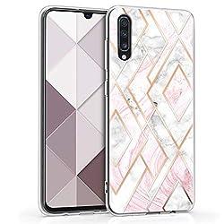kwmobile Samsung Galaxy A70 Hülle - Handyhülle für Samsung Galaxy A70 - Handy Case in Glory Mix Marmor Design Rosegold Weiß Altrosa