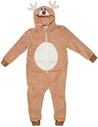 GetWivvit Garçon Fille Rudolph Renne Visage Capuche Fermeture Éclair Pyjama Combinaison en Polaire Barboteuse Tailles de 2 à 12 Ans