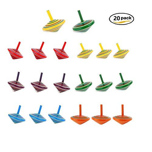 Southstar trottola bambini, 20pcs trottola in legno, mini giroscopio colorate in legno set per bambini giocattolo, ideali per regalare alle feste dei bambini