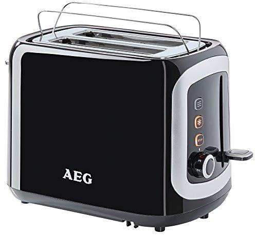 AEG AT3300 Perfect Morning Doppelschlitz-Toaster (integrierter Brötchenaufsatz, Staubschutz-Deckel, 7-stufige Bräunungsgrad Einstellung, Brötchenaufback-Funktion, Stopp-, Auftau- & Aufwärmknopf, Sensorelektronische Röstzeitsteuerung, Wärmeisolierte Cool-Touch-Gehäuse) Schwarz / Silber
