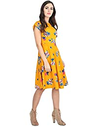 Rudraaksha Floral Printed Knee Length Dress for Women