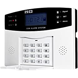 OWSOO Alarma Inalámbrica GSM SMS 433MHz Seguridad Antirrobo Sistema de Alarmas Detector con Sensor de Movimiento Control Remoto