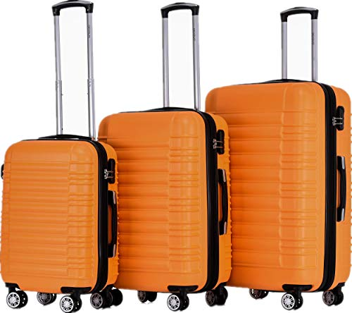 BEIBYE Zwillingsrollen 2088 Reisekoffer Koffer Trolleys Kofferset Reisekofferset Hartschale in 14 Farben (Orangen)
