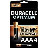 Duracell - NOUVEAU Piles alcalines AAA Optimum, 1.5 V LR03 MX2400, paquet de 4