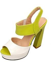Zapatos Verdes Tacon Ancho