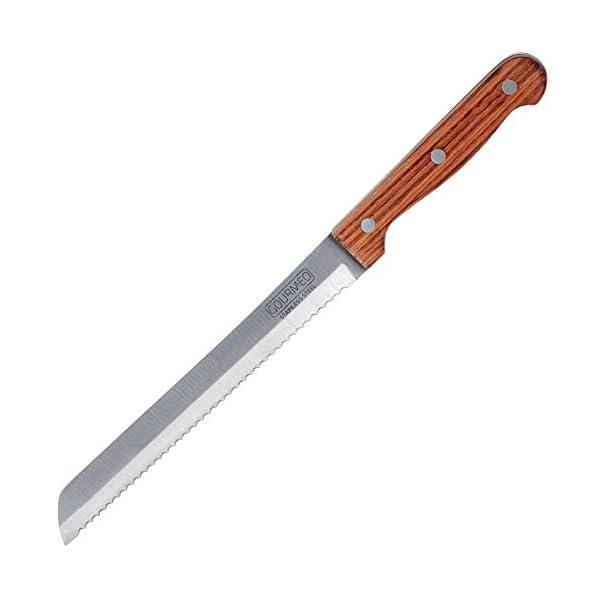 GOURMEO Küchenmesser Brotmesser langes Messer mit Holzgriff Edelstahl rostfrei