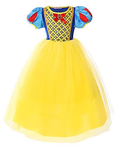 JerrisApparel Mädchen Schneewittchen Prinzessin Kostüm Kleid für Weihnachten (5, - Mädchen Schneewittchen Kostüm