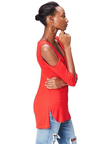 FIND Shirt Epaules Dénudées Femme Rouge (Sport Red)