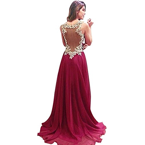 Chnli Fashion Women Sexy Deep V Long Sleeveless Strap High Waist Backless Formal Prom Dress Side Zip Slim Cocktail Party Ball Gown Evening Bridesmaid Dress (UK 12, Red)