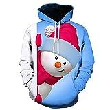 OverDose Damen Mens 3D Printed Weihnachten Pullover Langarm Mit Kapuze Sweatshirt Tops Bluse Party Clubbing Schnee Cool Warm Outwear(Blau2,EU-48/CN-L)