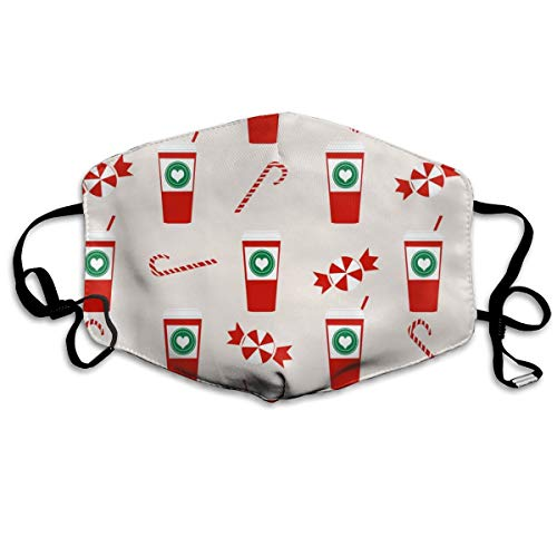 Christmas Peppermint Latte Candy Cane Holly Cute Coffee Latte Anti-dust Cotton Mouth Face Masks Reusable for Outdoor Half Face ()