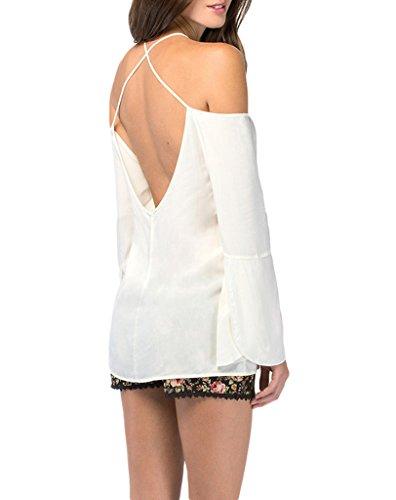 Bigood Sexy Chemise Femme Mousseline de Soie T-shirt Chemisier Blouse Sexy Epaule Dos Nu Bretelles Blanc