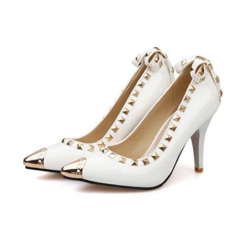 Desenhar Bombas Em Estilete Dedo Sapatos Apontado Agoolar Senhoras Brancos Puramente xSEU7