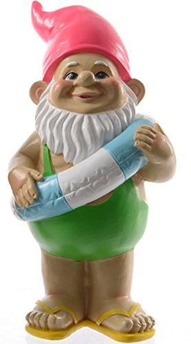UK Christmas World 60cm Large Beach Surfer Garden Gnome With Rubber Ring Ideal Garden and Home Decor Gift