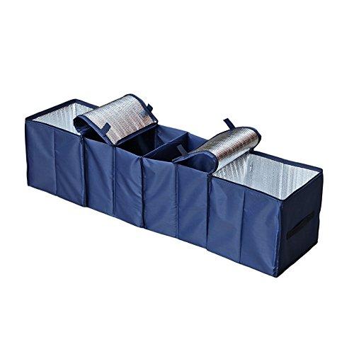 HCMAX 1 Pack Faltbar Auto Kofferraumtasche Kofferraum Veranstalter Oxford-Gewebe Aufbewahrungsbox für 4 Fächer Auto Kühltasche Mehrzweck für SUV Vans Cars Trucks