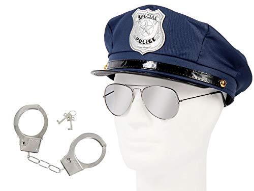 Set di Travestimento da Poliziotto 3 pezzi: Cappello Blu scuro, Occhiali da sole, Manette (KV-30) per Costume Carnevale Halloween Serata Festa a Tema Uomo Donna Adulti Ragazzi
