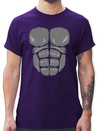 Karneval & Fasching - Gorilla Kostüm Fasching - L - Lila - L190 - Herren T-Shirt und Männer Tshirt