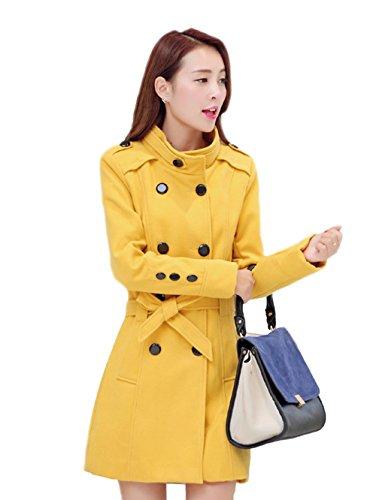 Damen Stehkragen Zweireiher Wolle Trenchcoat mit Gürtel (3XL, Gelb)