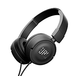 JBL T450 Pure Bass On-Ear Headphones (Black) with Mic