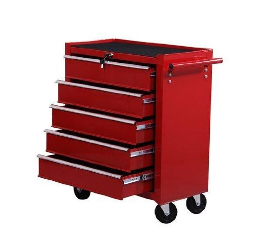 Homcom® Fahrbarer Werkstattwagen Werkzeugwagen Rollwagen Werkzeugkasten mit 5 Schubladen rot