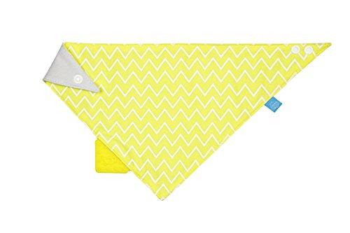 LÄSSIG Baby Bandana mit Beißhilfe Lätzchen Baumwolle Druckknopf saugfähig doppellagig beidseitig tragbar/Bandana, Zigzag, yellow