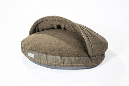 """Collared Creatures Dog Cave Bed, Dog Bed, Large 889mm (35"""") Green Tweed 5"""