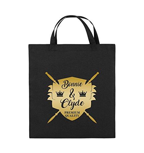 Borse Da Commedia - Bonnie & Clyde Knight - Motivo - Borsa Di Juta - Manico Corto - 38x42cm - Colore: Nero / Rosa Nero / Oro