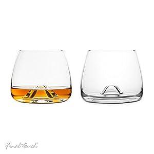 Final Touch 100% Lead-free Crystal Whisky Glasses Whiskey Gläser Whiskeygläser Kristallglas Hergestellt mit DuraSHIELD Titanium verstärkt für erhöhte Haltbarkeit Hoch 9 cm 300ml - Packung mit 2 Stück