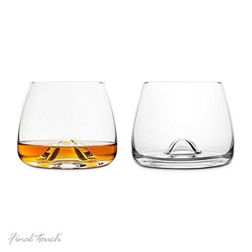 Final Touch 100% Lead-free Crystal Whisky Glasses Whiskey Gläser Whiskeygläser Kristallglas Hergestellt mit DuraSHIELD Titanium verstärkt für erhöhte Haltbarkeit Hoch 9 cm 300ml - Packung mit 2 Stück -