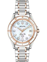 Bulova Womens Analogue Quartz Watch with Stainless Steel Strap 98P187