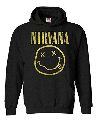 """Felpa Unisex """"Nirvana"""" - Light Yellow Texture - Felpa con cappuccio rock band LaMAGLIERIA, L, Nero"""