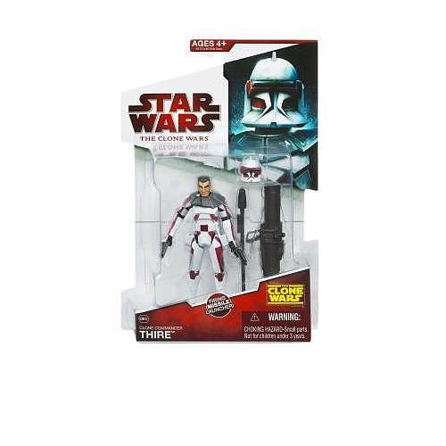 Star Wars The Clone Wars Animated Series 4 Inch Tall Action Figure - CW32 Clone Commander THIRE with 2 Blaster Pistol, Removable Helmet and Missile Launcher with 1 Missile (Action-figur-clone Wars)