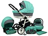 Kinderwagen Alu Way, 3 in 1 - Set Wanne Buggy Babyschale Autositz (Mint)