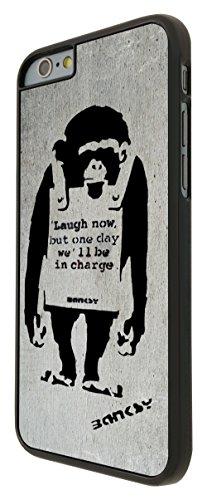546-Banksy Monkey Laugh Now Coque iPhone 66S 4.7Design Fashion Trend Case Back Cover Métal et Plastique-Noir