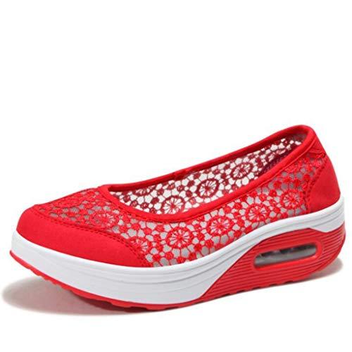 Frauen Trainer Spitze Ineinander greifen Breathable beiläufige Schuh leichte Nicht Beleg gehende laufende Plattform Müßiggänger -