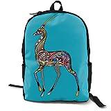 Personality Knapsack Colorful Deer Water Resistant School Rucksack for Women Men