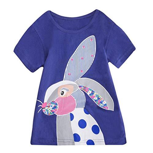 er Baby Jungen mädchen Kleidung Kurzarm niedlichen Cartoon Tops t-Shirt Bluse (Blau,120) ()