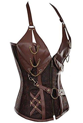 Damen Gothic Corsage Top Korsett Steampunk Korsage Dessous Plus Size Braun
