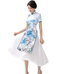 ACVIP Poco Vistoso Elegante Cheongsam Donna a Stampati Fiori di Loto  Inchiostro b367380bbb2