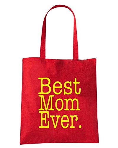 T-Shirtshock - Borsa Shopping FUN0749 Best Mom Ever Rosso