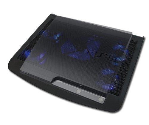 USB KÜHLER ZUSATZLÜFTER COOLER STÄNDER | 5 x LÜFTER | 2 x USB | FÜR PLAYSTATION 3 / PLAYSTATION 4 / XBOX 360 / XBOX ONE [SCHWARZ]