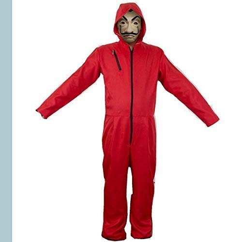 Unisex La Casa De Pape Maske Cosplay Bekleidung Pullover Kostüme Body Suit Rot Anzug Halloween Overall Jumpsuit (Overall+Maske, X-Large)