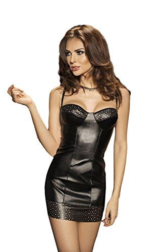 Sexy schwarz Mini Kleid Schablone Muster in die Büste & Hemline & passendem Tanga–xxl/xxxl (UK 18–20) (Mini-kleid Flirty)