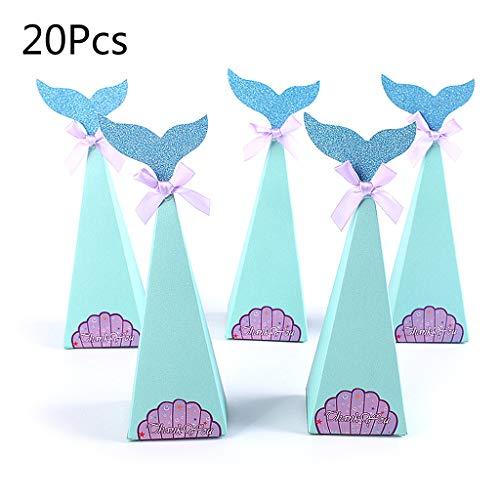 20 Teile/Satz Fisch Meerjungfrau FishShell Aufkleber Bowknot Pralinenschachtel Geburtstagsfeier Geschenk Dekorative Verpackung Versorgung