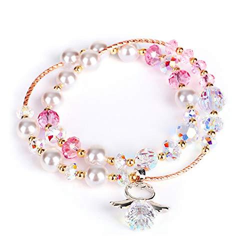 ZSML Frauen Rose Gold Bangle Österreichisches Multi-Layer-Kristall-Armband Persönlichkeits-Mode Angel Anhänger Imitation Perlen-Armband Schmuck