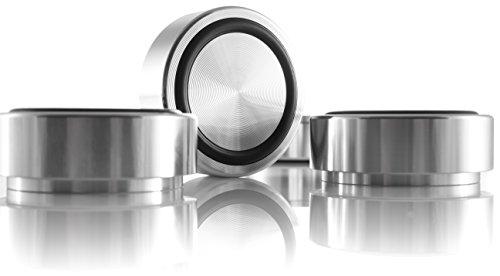 Hifi Lab Aluminium Füße massiv 44x17 Alu Geräte-Füße Audio Absorber Silber 4X edel -