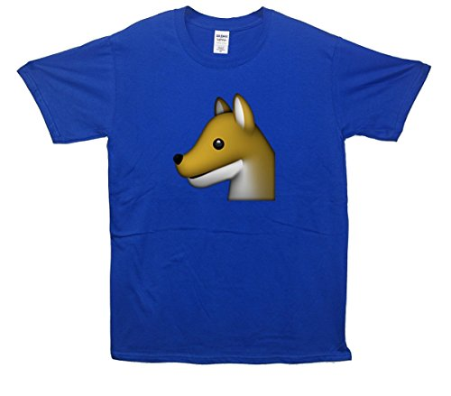 Dog Profile Emoji T-Shirt Blau